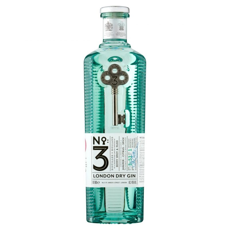 Luxury gin number three bottle