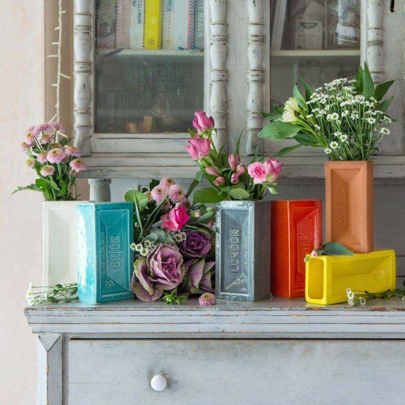 Ceramic brick vases in a variety of colours