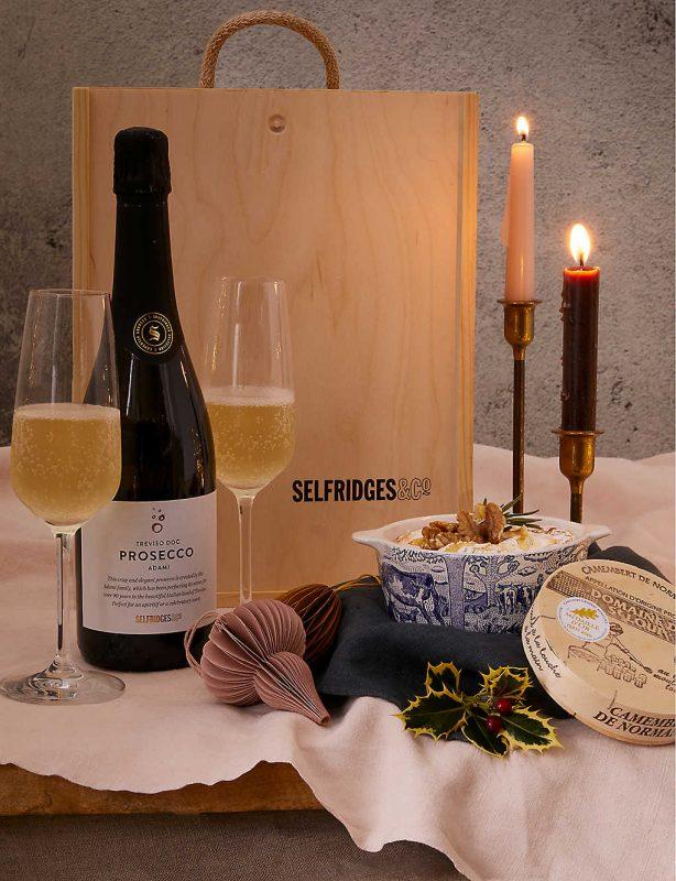 Camembert and prosecco gift hamper