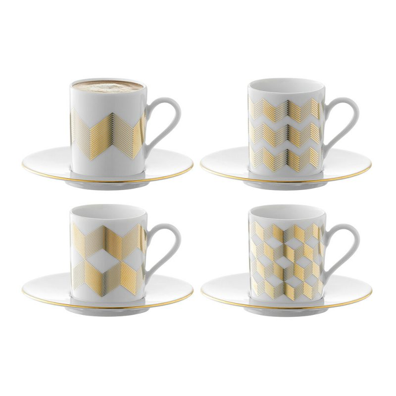 Gold chevron cups and saucers