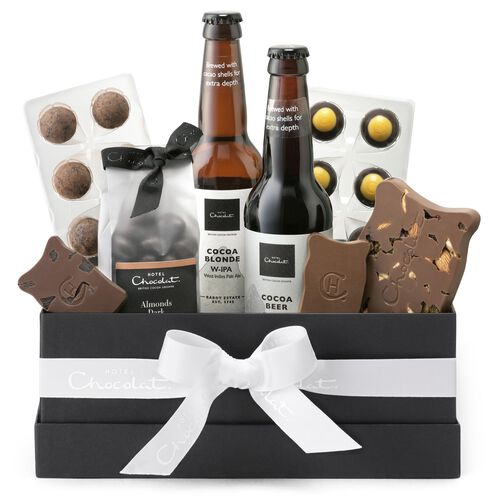 Beer and chocolate themed gift hamper