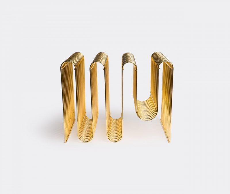 Curva Magazine Holder in Brass