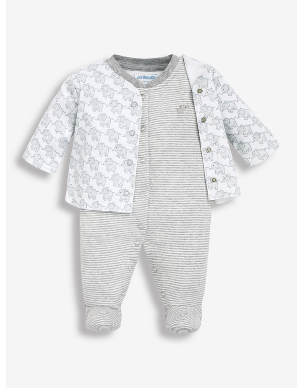 neutral sleepsuit with elephants