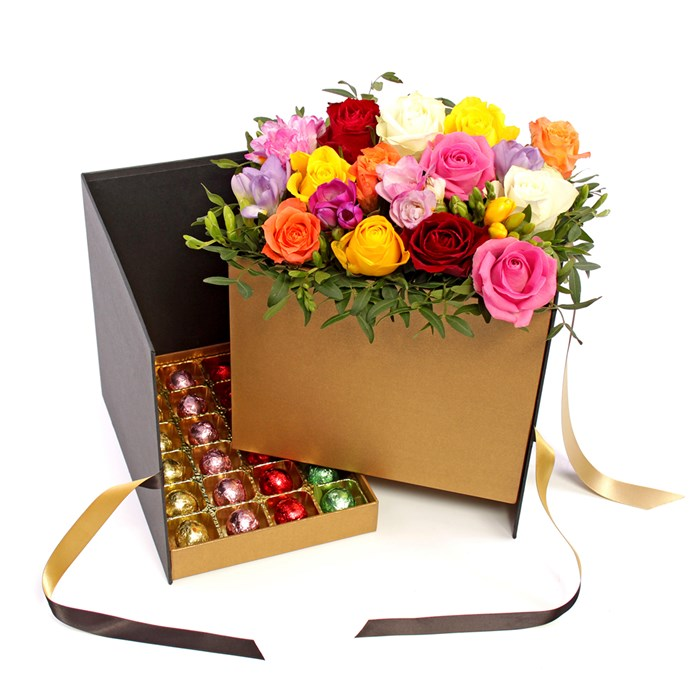 Flowers and chocolate gift hamper