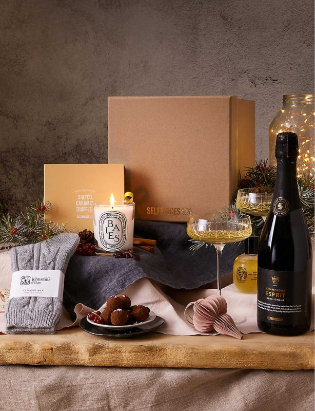 Selfridges Hamper with Champagne and candles