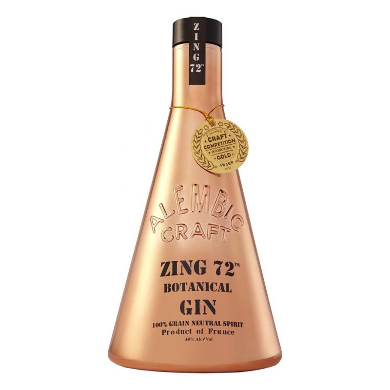 French Zing Gin gold bottle