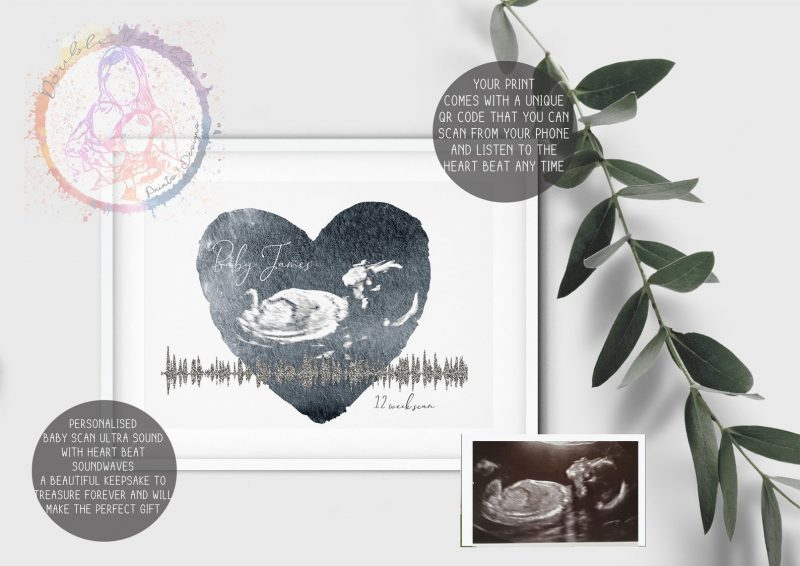 Baby scan and heartbeat photo