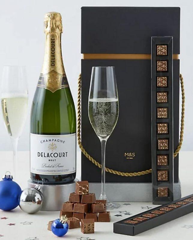 Champagne and chocolate truffle gift set