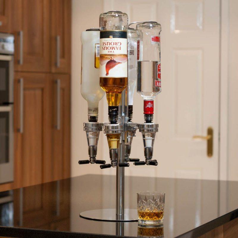 Four bottle optic dispenser home bar gifts