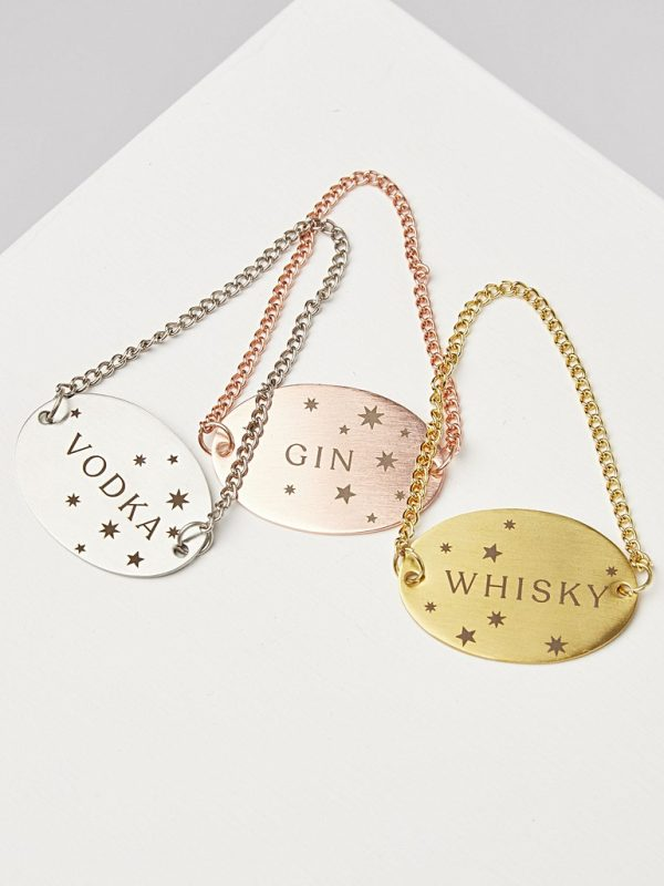 Mixed metal alcohol tags gifts for home bar