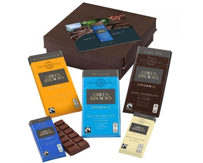 Small chocolate lover's gift set from Green & Blacks