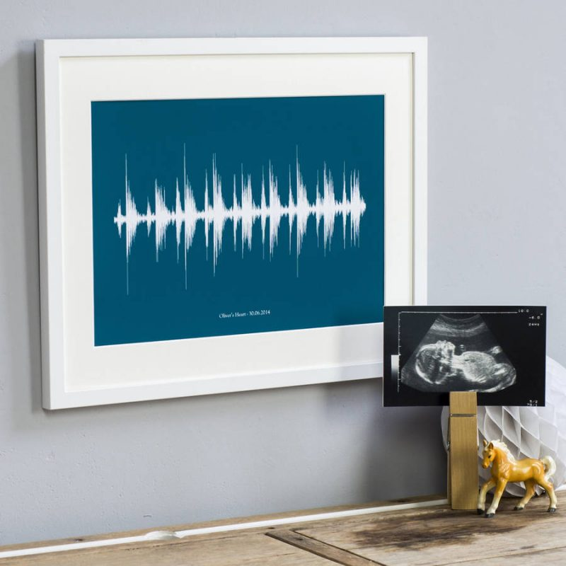 Personalised baby heartbeat print in frame