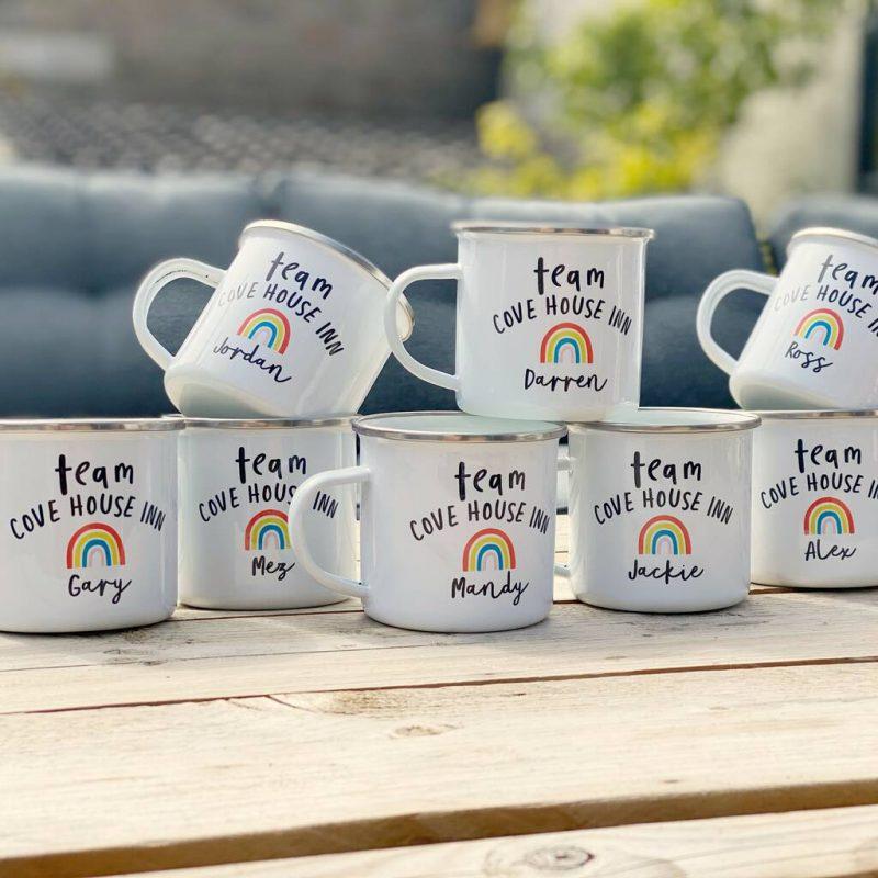 Enamel personalised team mugs