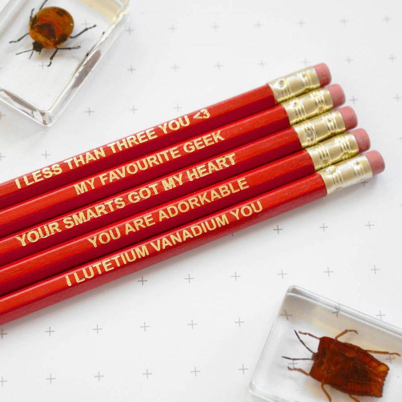 Cute geeky pencil set