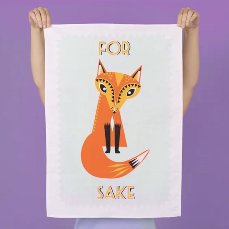 Fox sake tea towel