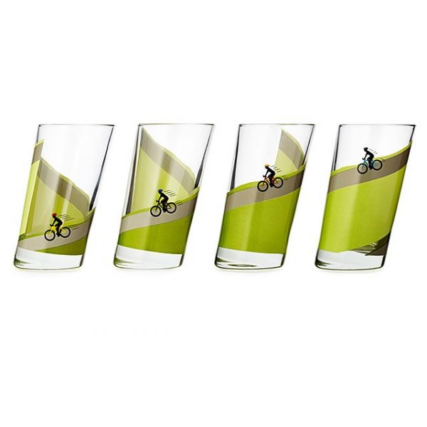 Cycling themed drinking glasses