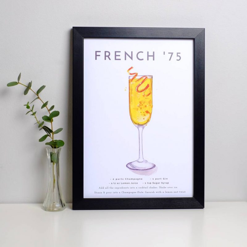 French 75 cocktail recipe print