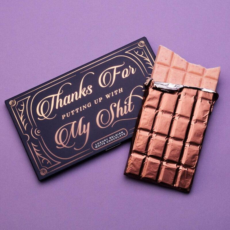 Thanks for putting up with me themed funny chocolate bar gift