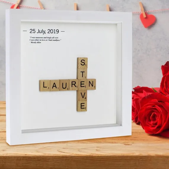 Personalised Couples Wooden Letter Tiles Frame