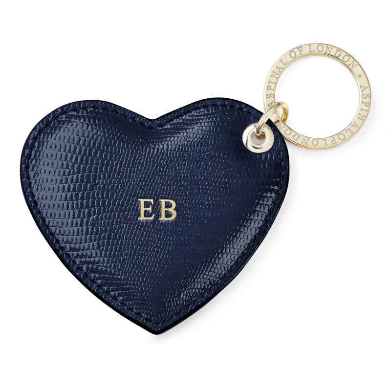 Navy Heart Key Ring