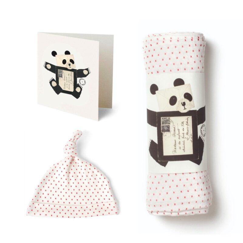 Red and white gift kit with panda