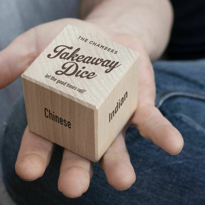 personalised takeaway dice for couples