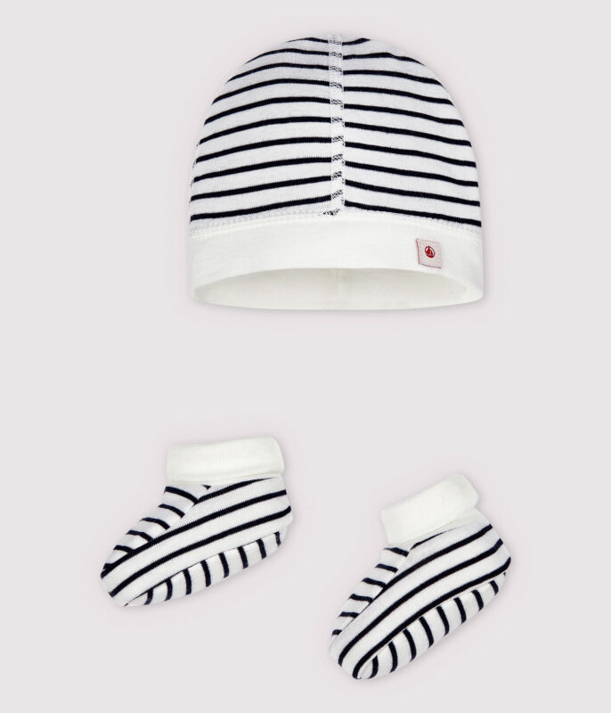 Hat and shoes in stripes newborn baby gift ideas