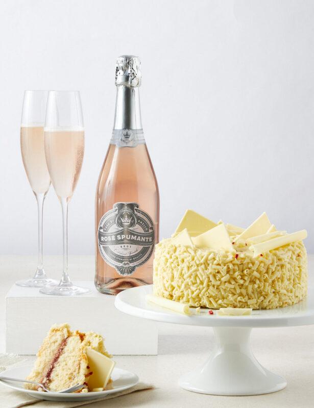 White Chocolate Cake & Pink Sparkling Wine Duo