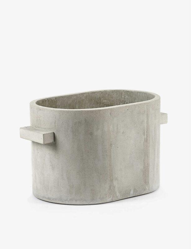 narrow concrete planter