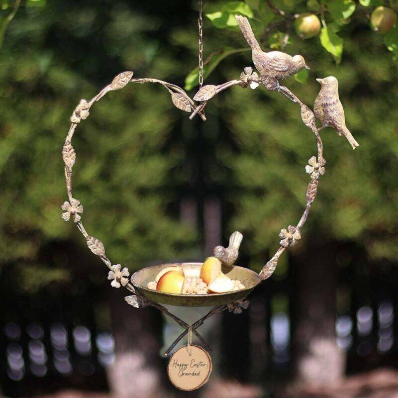 hanging heart bird dish