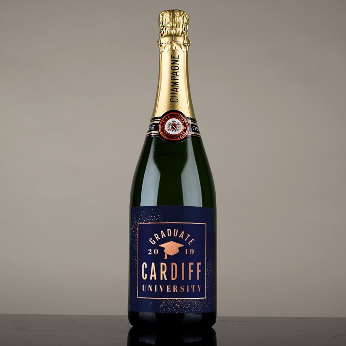 personalised champagne for a graduate