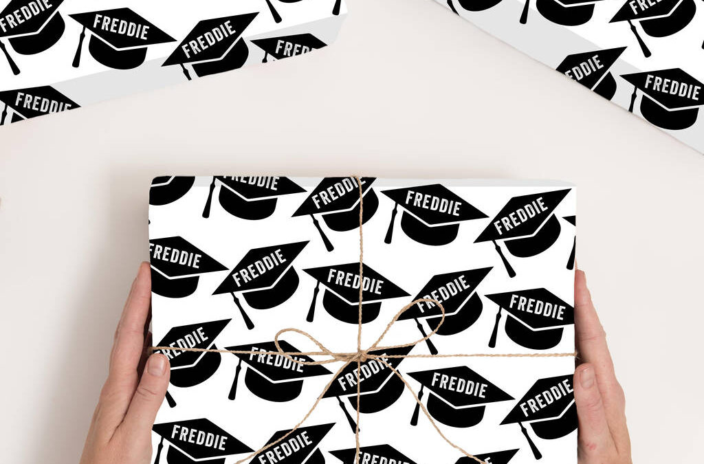 personalised wrapping paper for graduation gifts