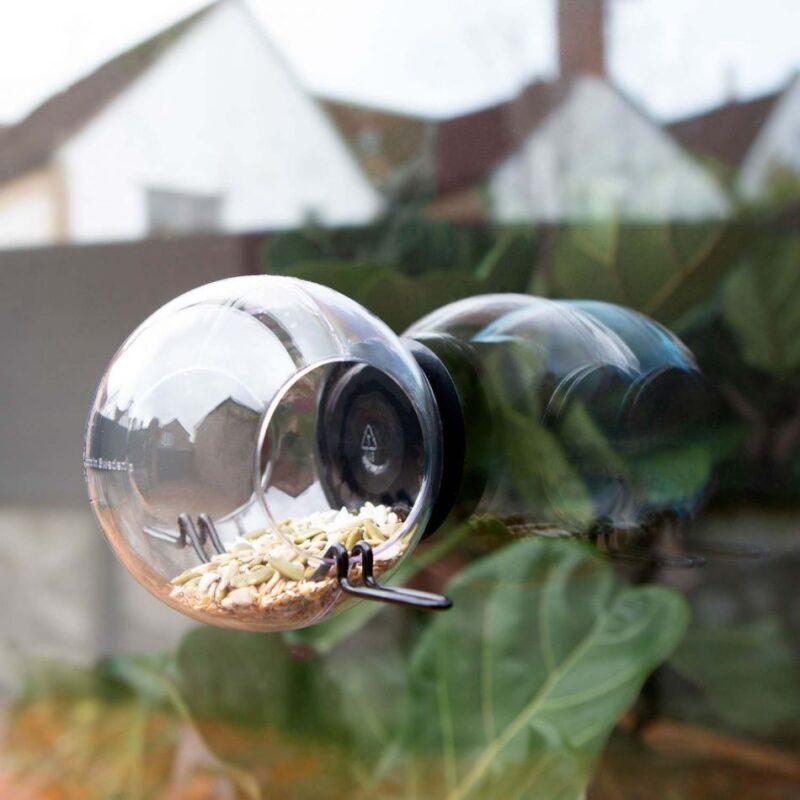 window bird feeder for a balcony