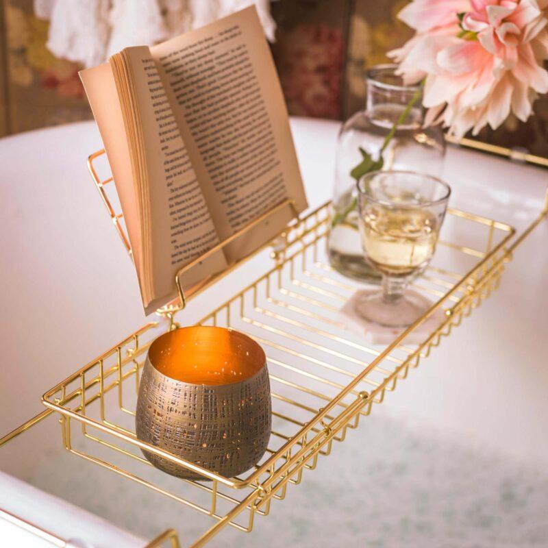 Gold bath caddy gift idea for a new mum