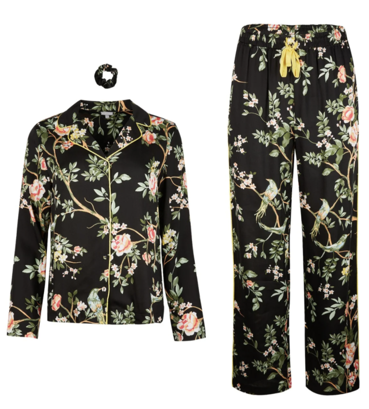 Black floral pyjamas with matching scrunchie